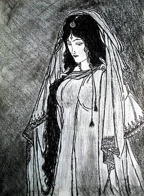 Nostalgia - Woman Of Chughtai  Art Print