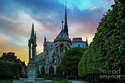 Photograph - Notre Dame Sunset by Brian Jannsen