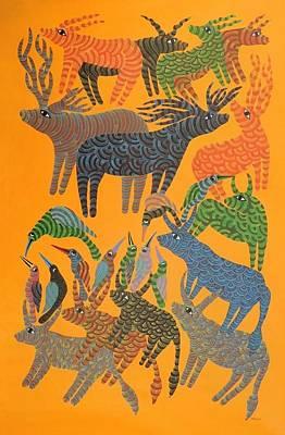 Gond Art Painting - Npt 92 by Narmada Prasad Tekam