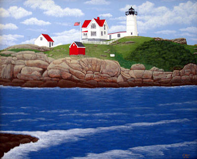 Christmas Card Painting - Nubble Lighthouse by Frederic Kohli