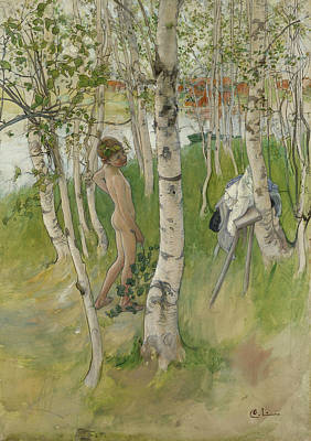 Painting - Nude Boy Among Birches by Carl Larsson