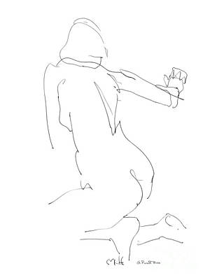 Drawing - Nude Female Drawings 8 by Gordon Punt