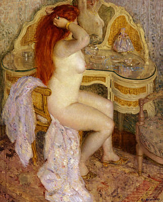 Dressing Painting - Nude Seated At Her Dressing Table by Frederick Carl Frieseke