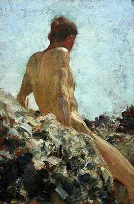 Print featuring the painting Nude Study by Henry Scott Tuke