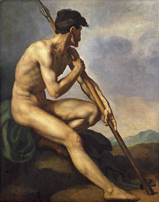 Nude Painting - Nude Warrior With A Spear by Theodore Gericault