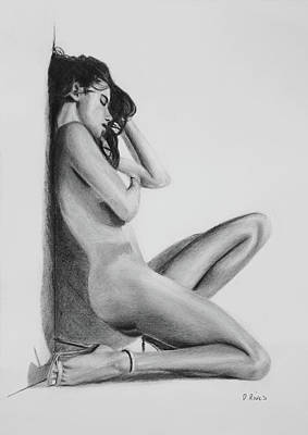 Nude Woman In High Heels Drawing Art Print