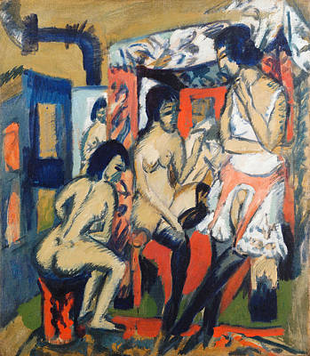 Naked Painting - Nudes In Studio by Ernst Ludwig Kirchner