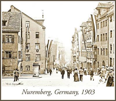 Photograph - Nuremberg Street Scene, 1903, Vintage Photograph by A Gurmankin