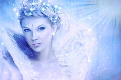 Moon Fairies Blue Snow Woman Digital Art - Nymph Of February by Lilia D