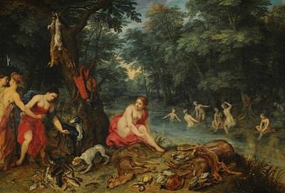 Painting - Nymphs Bathing by Jan Brueghel the Elder