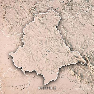 Digital Art - Oberpfalz Regierungsbezirk Bayern 3d Render Topographic Map Bord by Frank Ramspott