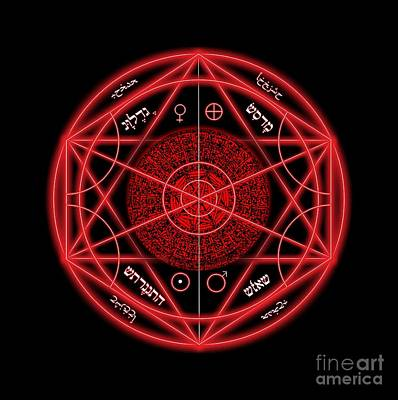Jewish Symbol Digital Art - Occult Magick Symbol On Red By Pierre Blanchard by Pierre Blanchard