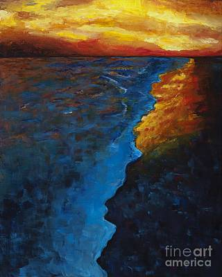 Sunset Abstract Painting - Ocean Sunset by Frances Marino