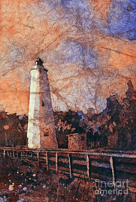Painting - Ocracoke Island Lighthouse by Ryan Fox