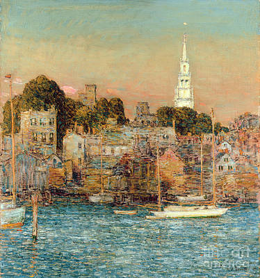 Steeple Painting - October Sundown by Childe Hassam
