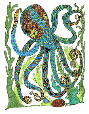Drawing - Octopus' Garden by Barbara McConoughey