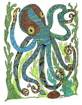 Drawing - Octopus' Garden by Barbara McConoughey