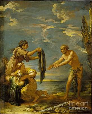 Old Man Painting - Odysseus And Nausicaa by MotionAge Designs