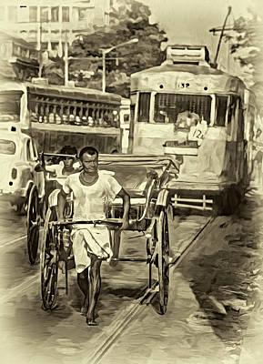 Food And Flowers Still Life - Oh Calcutta - Paint - Sepia by Steve Harrington