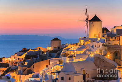 Thera Photograph - Oia On Santorini At Sunset by Henk Meijer Photography