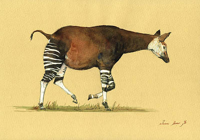 African Painting - Okapi Art Watercolor Painting by Juan  Bosco