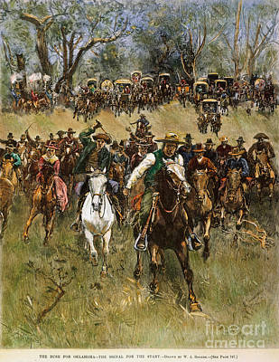 Oklahoma Land Rush, 1891 Art Print by Granger