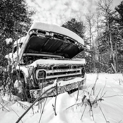 Photograph - Old Abandoned Pickup Truck In The Snow by Edward Fielding