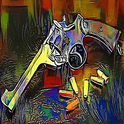 Six Shooter Drawing - old American colt revolver with emblem wild west on white - My WWW vikinek-art.com by Viktor Lebeda