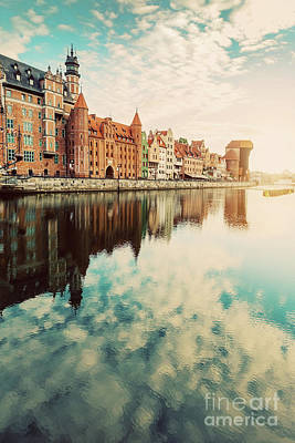 Photograph - Old Building In Old Town, Gdansk, And Motlawa River by Michal Bednarek