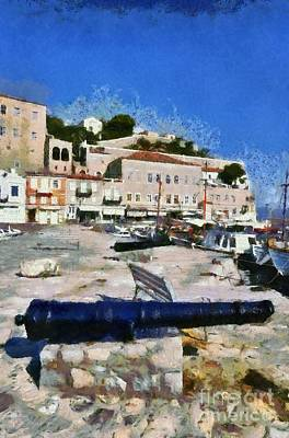 Painting - Old Cannons In Hydra Island by George Atsametakis