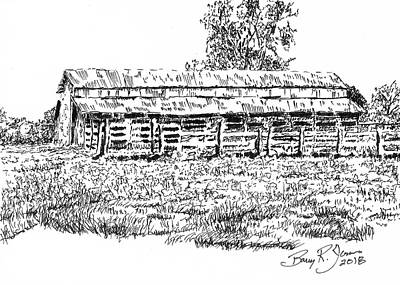 Drawing - Old Cattle Barn by Barry Jones