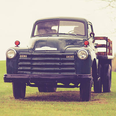 Green Wall Art - Photograph - Old Chevy Farm Truck In Vermont Square by Edward Fielding