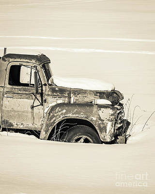 Photograph - Old Farm Truck In The Snow by Edward Fielding