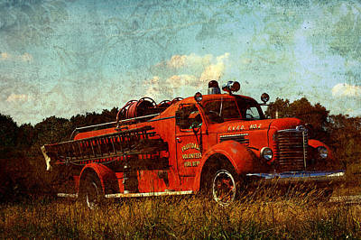 Siren Digital Art - Old Fire Truck by Off The Beaten Path Photography - Andrew Alexander
