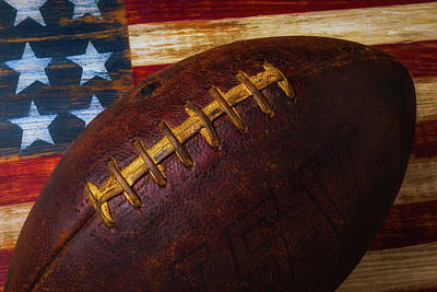 Old Football Close Up Art Print by Garry Gay