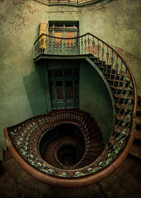 Photograph - Old Forgotten Spiral Staircase by Jaroslaw Blaminsky