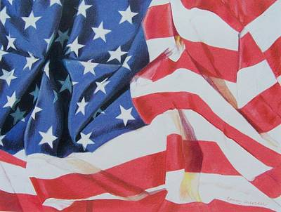Art Print featuring the mixed media Old Glory by Constance Drescher