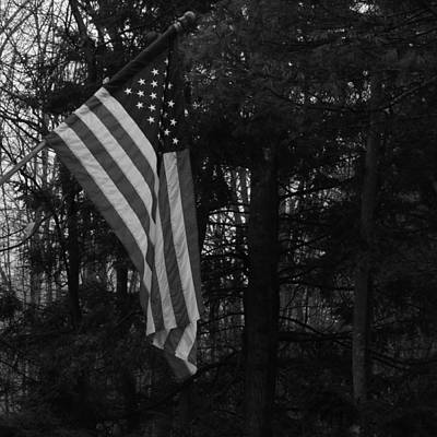 Photograph - Old Glory In Black And White by Bill Tomsa