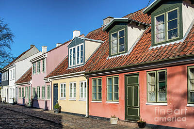 Old Homes In Cobbled Streets In Odense, The City Of Hans Christi Art Print by Frank Bach