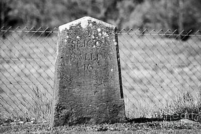 old irish milestone marker by the side of new road Enniscrone county sligo Ireland Print by Joe Fox