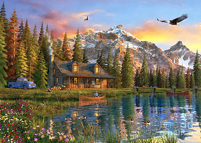 Canoe Digital Art - Old Log Cabin by Dominic Davison