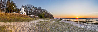 City Sunset Photograph - Old Mission Peninsula Lighthouse And Shore by Twenty Two North Photography