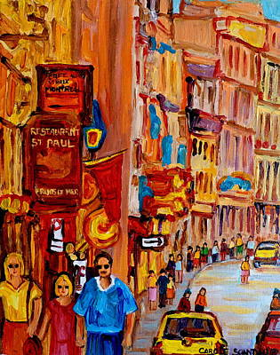 Rue Notre Dame Painting - Old Montreal Restaurants by Carole Spandau