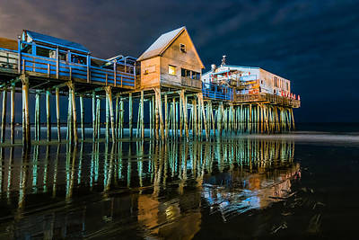 Old Orchard Dock Night Reflection Art Print