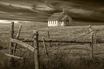 Photograph - Old Rural Country Church In Sepia Tone by Randall Nyhof