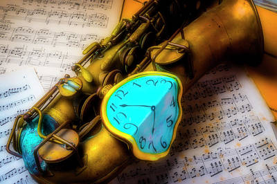 Photograph - Old Sax And Melting Clock by Garry Gay