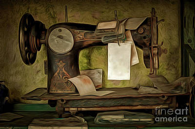 Copy Machine Digital Art - Old Sewing Machine by Michal Boubin