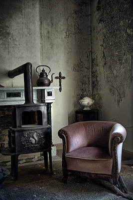 Old Sofa Waiting - Abandoned House Art Print