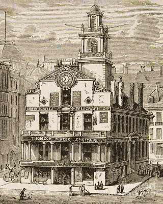 Old Street Drawing - Old State House, Boston by English School