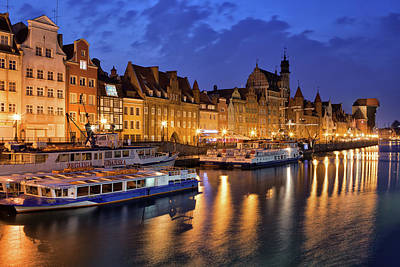 Photograph - Old Town Of Gdansk By Night In Poland by Artur Bogacki